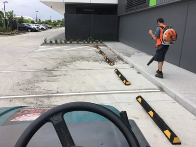 sweeping carpark at hamilton