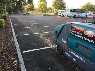 sweeping carpark at meadowbrook