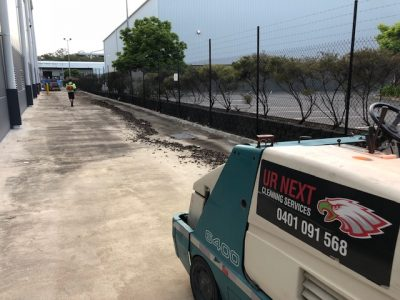 sweeping carpark at portside